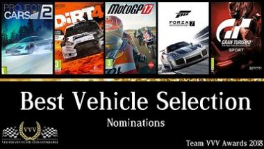 "Forza Motorsport 7: Winner of ""Team VVV Racing Game Awards 2018: Best Vehicle Selection"""