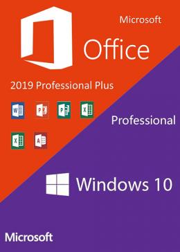 Cheap Microsoft Windows10 PRO OEM + Office2019 Professional Plus CD Keys Pack