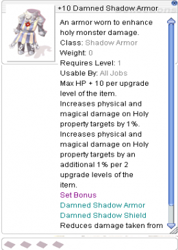 Cheap Ragnarok Online(US) Chaos +10 Damned Shadow Armor