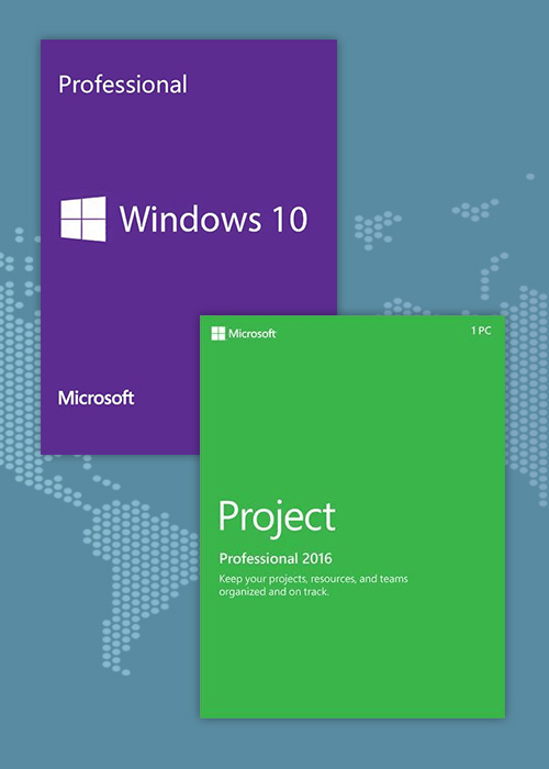 Cheap Software  Windows10 PRO OEM + Project Professional 2016 CD Keys Pack