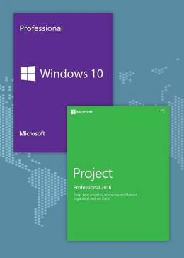 Cheap Microsoft Windows10 PRO OEM + Project Professional 2016 CD Keys Pack
