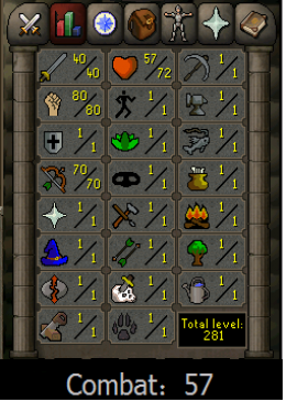 Cheap Runescape Old School Atk40 Str80 Ranged70