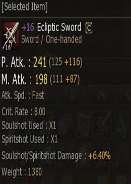 Cheap Lineage II Gludio ZB10047 +16 Ecliptic Sword