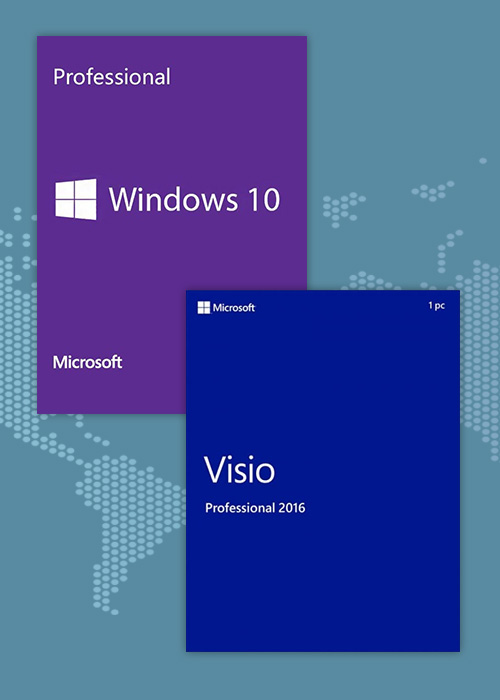 Cheap Software  Windows10 Pro OEM + Visio Professional 2016 CD Keys Pack