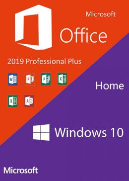 Cheap Software  Windows10 Home OEM + Office2019 Professional Plus CD Keys Pack