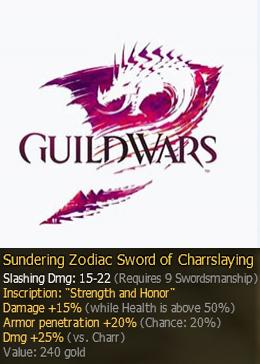 Cheap Guild Wars Pre-Searing Items Pre-Zodiac Sword R9